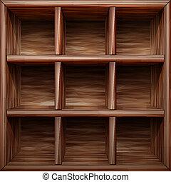 estante, de madera