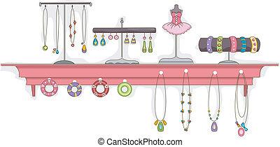 estante, joyas, exhibición