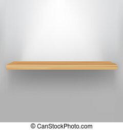 estante, madera, vacío