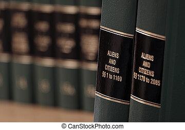 estante, norteamericano, ciudadanía, ciudadano, ley, legal, libros, extranjero