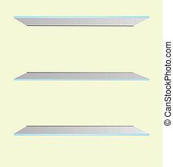 estanterías de vidrio en el vector de la pared