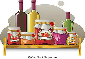 Estantes de botellas y latas