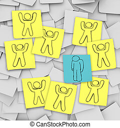 estantes, deprimido, notas, -, triste, persona, solamente, pegajoso