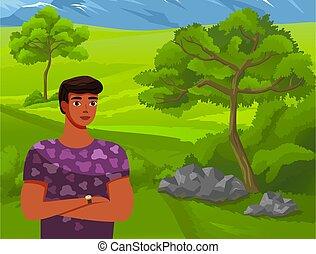 estantes, hombre, plano de fondo, montañas., verde, concepto, bosque, ilustración, alto, joven, viaje