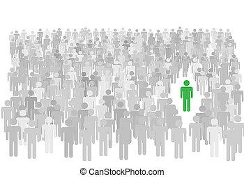 estantes, multitud, gente, símbolo, grande, persona, individuo, afuera