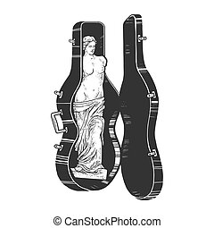 estatua, blanco, doble, rasguño, image., de, impresión, bajo, mano, illustration., venus, antiguo, dibujado, tabla, camiseta, ropa, griego, design., caso, estilo, grabado, negro, vector, milo, bosquejo, imitation.