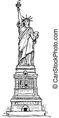 Estatua de dibujo a mano libre.