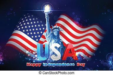 Estatua de libertad con bandera americana