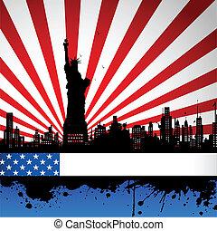 Estatua de libertad en el telón de fondo de la bandera americana