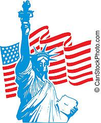 estatua, libertad, bandera de los e.e.u.u