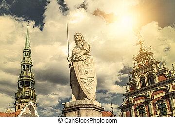 estatua, patrocinador, riga, -, c/, santo, roland.