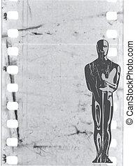 Estatuilla de vector en antecedentes de películas antiguas