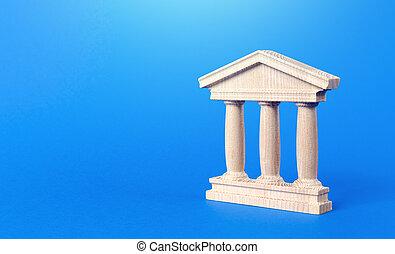 estatuilla, o, arquitectónico, concepto, tribunal, educación, city., monumento, style., edificio, pilares, universidad, administración, library., government., antigüedad, ciudad, parte, viejo, banca, banco