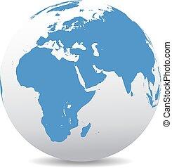 este, medio, india, áfrica, arabia