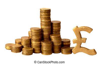 esterlina, coins, oro, señales