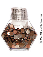 esterlina, dinero, coins, tarro, bolsa