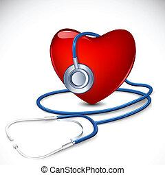 Estetoscopio alrededor del corazón