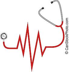 Estetoscopio, electrocardiograma