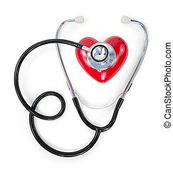 Estetoscopio en el corazón rojo