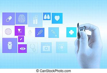 Estetoscopio en mano como médico