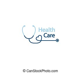 estetoscopio, forma, logo., salud, forma, phonendoscope, logotype, cuidado, heart., logotipo