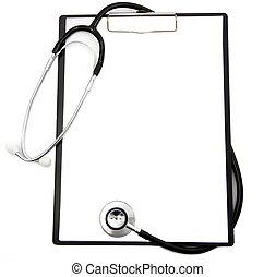 Estetoscopio médico y tablillas en blanco