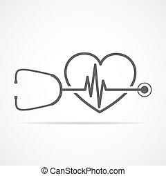 Estetoscopio, signo de latido y corazón. Ilustración de vectores