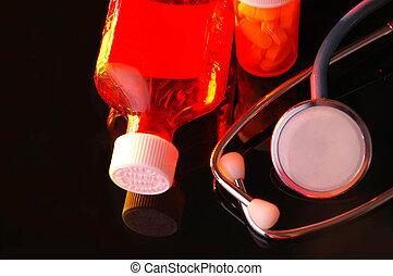 Estetoscopio y botellas de medicina
