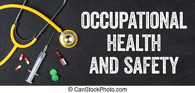Estetoscopio y fármacos en una pizarra: Salud y Seguridad Ocupacional
