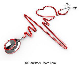 Estetoscopio y una silueta del corazón y ECG
