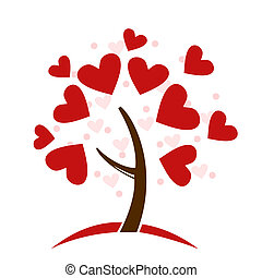 estilizado, árbol, hecho, corazones del amor