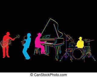 estilizado, banda, jazz