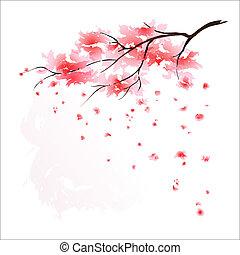estilizado, cerezo, japonés