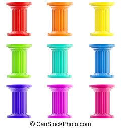 estilizado, conjunto, aislado, columnas, pilares, nueve