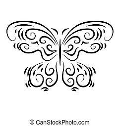 estilizado, decorativo, hermoso, mariposa, ornamental