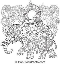 estilizado, dibujado, mano, elefante