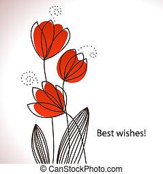 estilizado, flores, tarjeta, vector