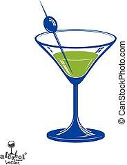 estilizado, illustration., realista, objeto, tema, salón, vidrio, –, bebida, artístico, relajación, aceituna, baya, 3d, fiesta., martini, celebración