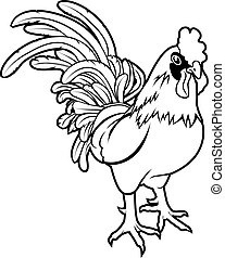 estilizado, ilustración, gallo