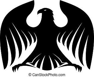 estilizado, silueta, negro, fuerte, águila