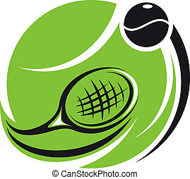 estilizado, tenis, icono