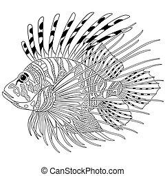 estilizado, zentangle, pez
