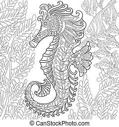 estilizado, zentangle, seahorse