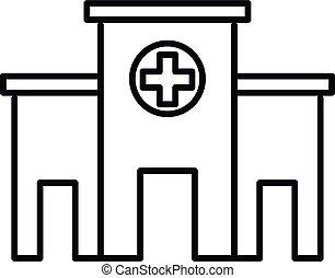 estilo, énfasis, icono, contorno, hospital