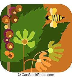 estilo, abejas, flores, vector, caricatura, jardín