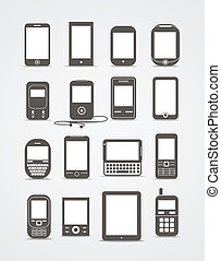 Estilo abstracto moderno y aparatos móviles antiguos