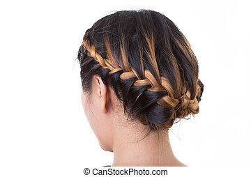 estilo, aislado, pelo largo, plano de fondo, blanco, trenza