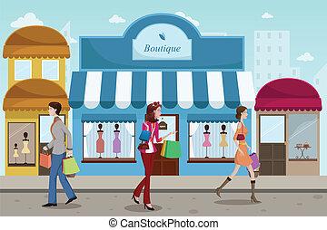 estilo, al aire libre, compras, gente, boutique, francés, alameda