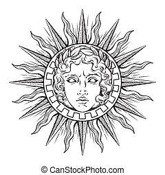 estilo, antigüedad, cara del sol, apolo, dios