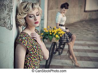 estilo, bellezas, foto, joven, dos, retro